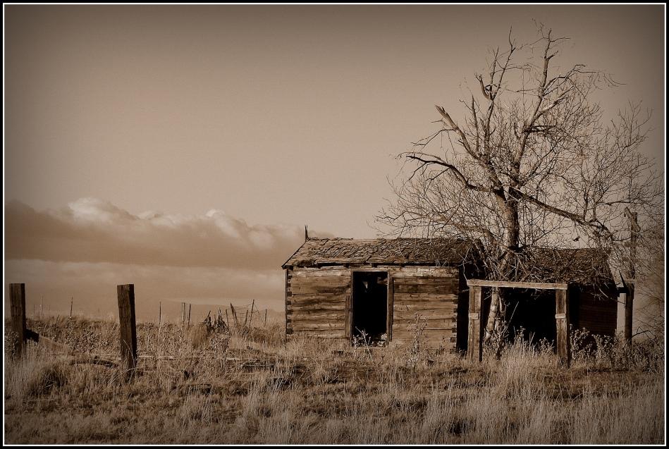 Homestead in sepia