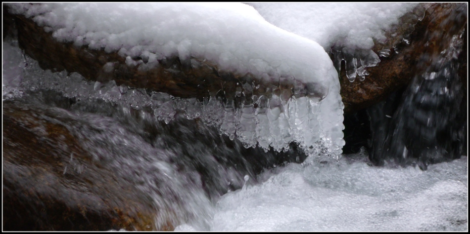 Icy pearls in winter stream 2