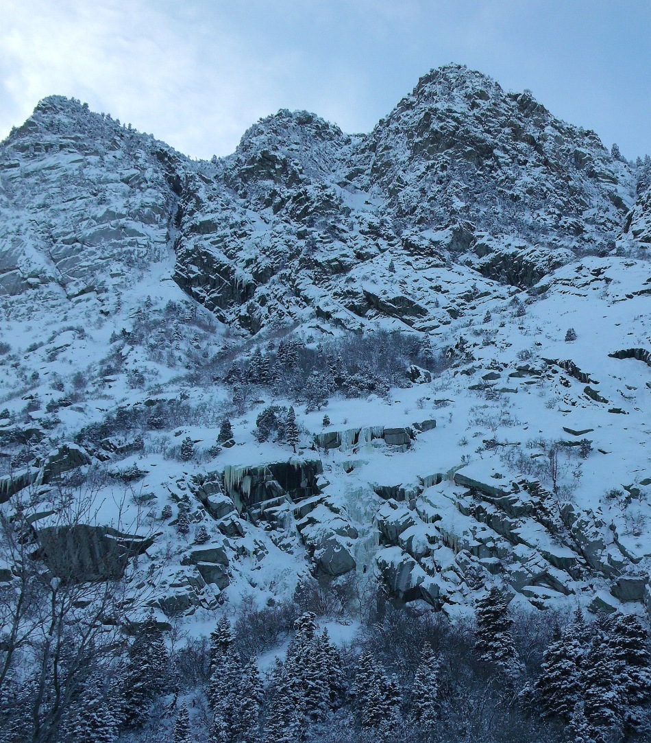 Ice Climbers on South Wall of Little Cottonwood Canyon Utah