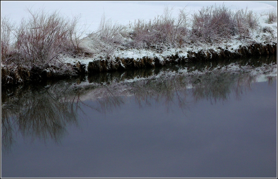 snowy streambank with reflection