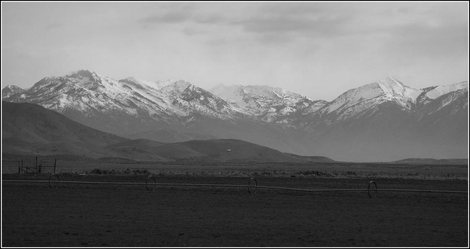Cedar Fort mountain vista in black and white