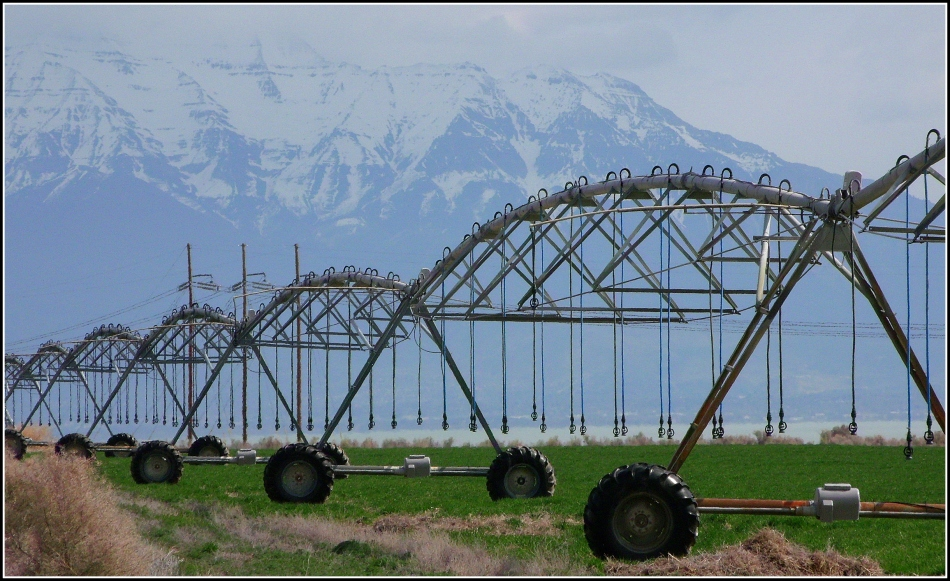 irrigation equipment with mountain background