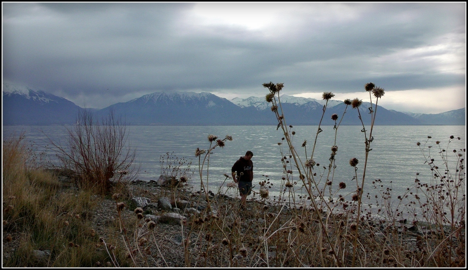 Utah Lake shoreline with mountains in background