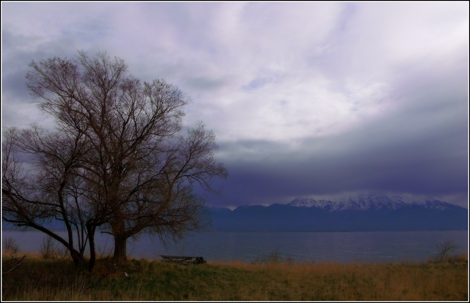 Utah Lake under mountains and clouds