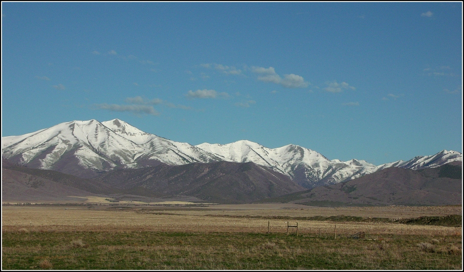 Oquirrh Mountains over Cedar Valley fields