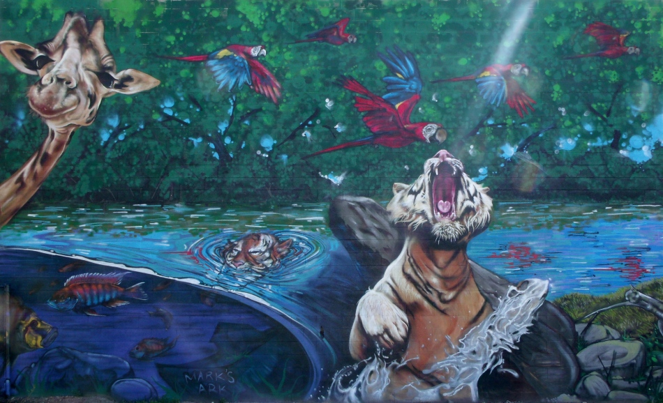 Urban Jungle Mural Leaping Tiger