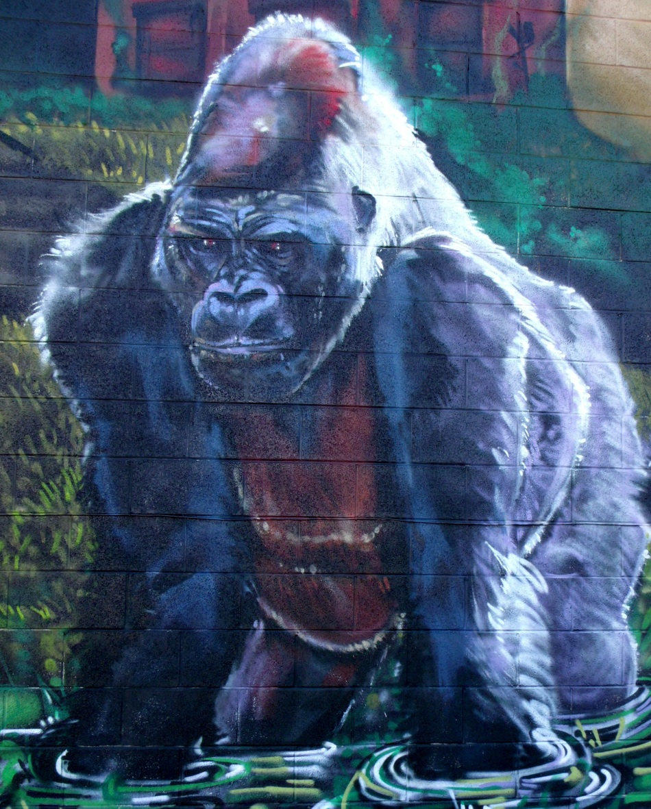 Urban Jungle Mural standing gorilla