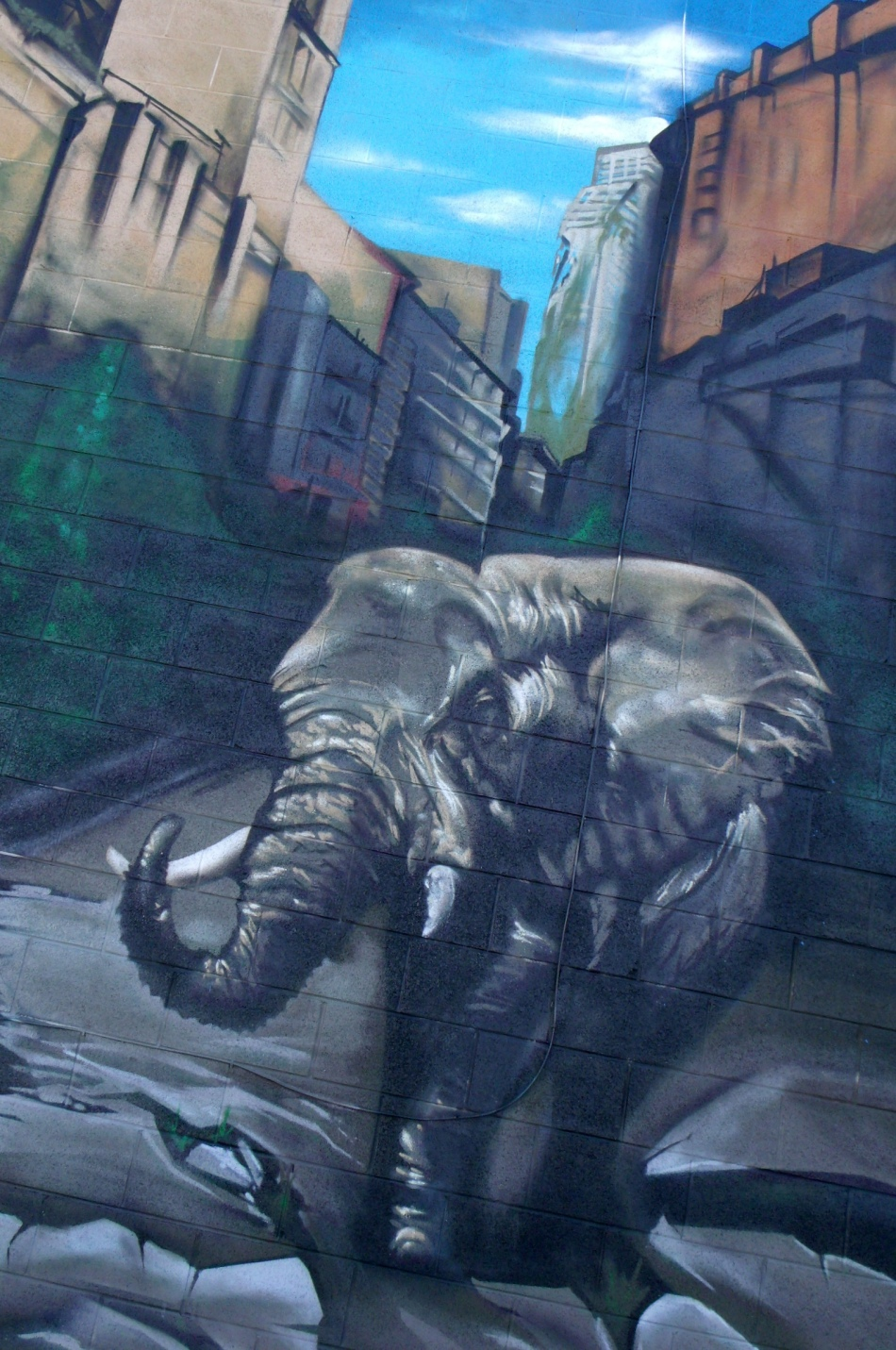 Urban Jungle Mural elephant in the city