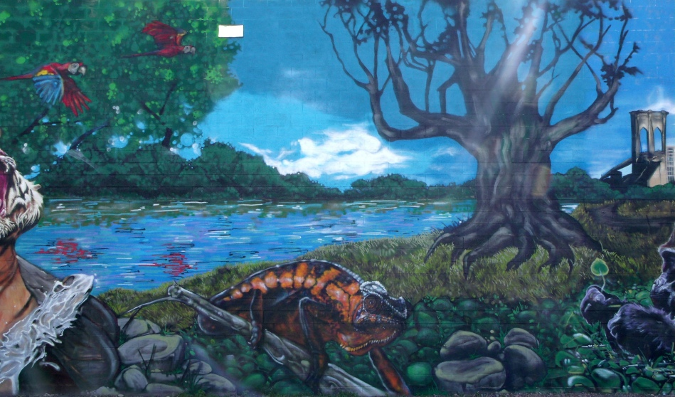 Urban Jungle Mural Iguana by Lake