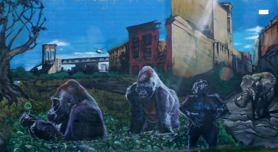 Urban Jungle Mural Primates by Buildings