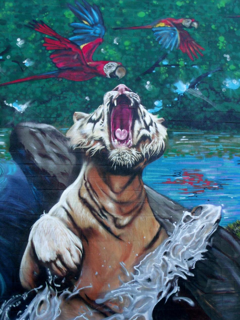 Urban Jungle Mural leaping tiger close-up