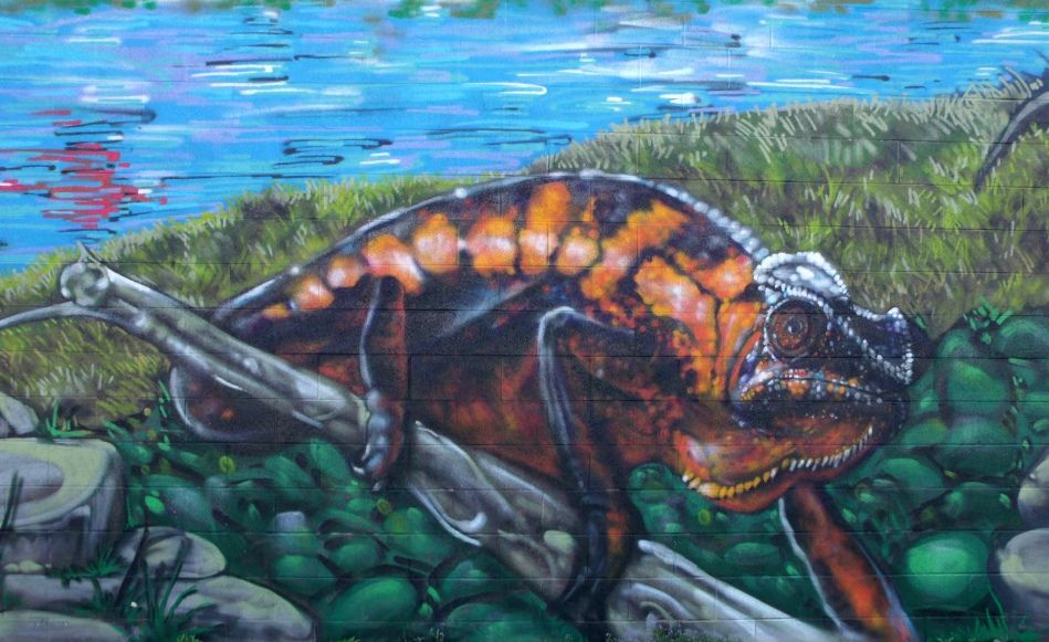 Urban Jungle Mural Iguana close-up