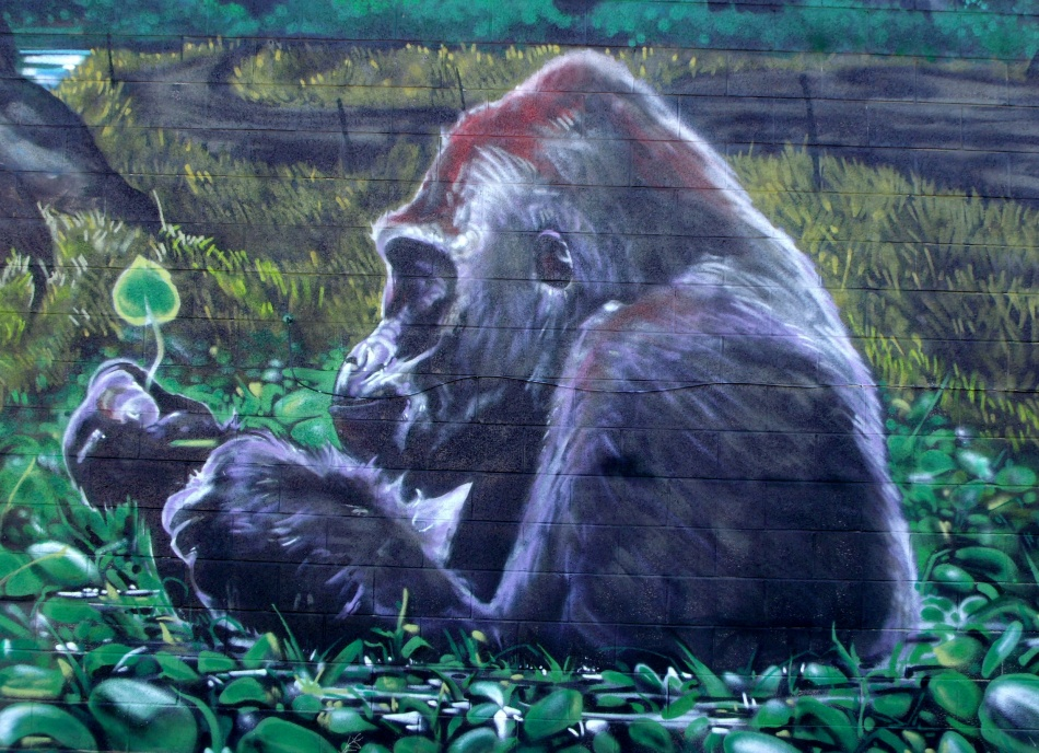 Urban Jungle Mural contemplative gorilla