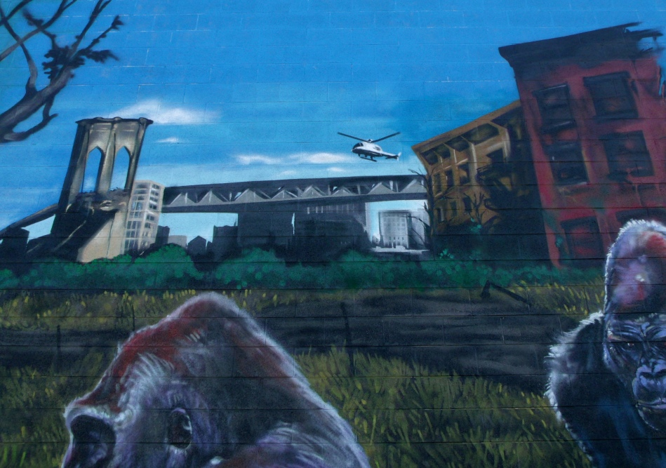 Urban Jungle Mural helicopter city-scape