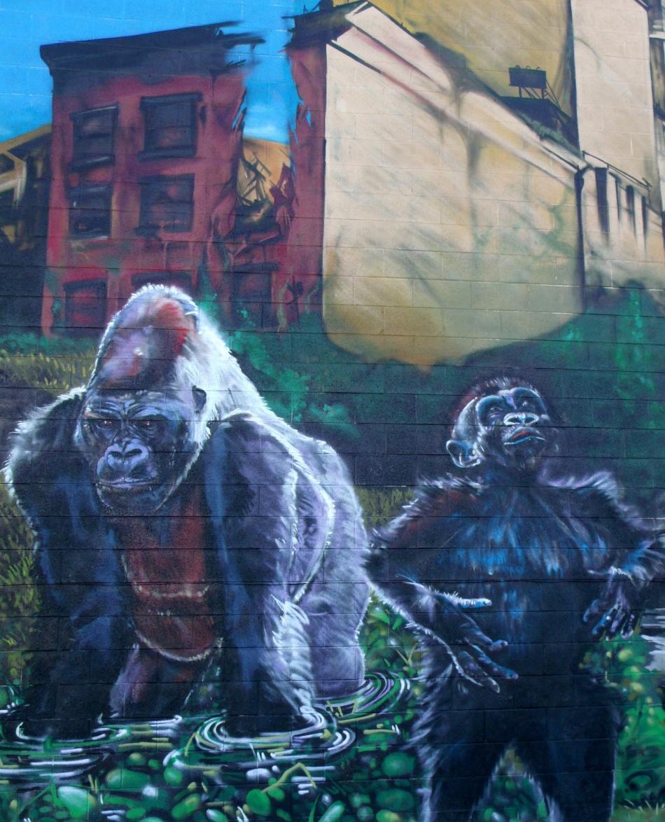 Urban Jungle Mural primates and buildings