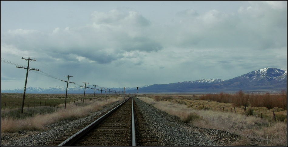 railroad tracks into horizon, Tooele County Utah