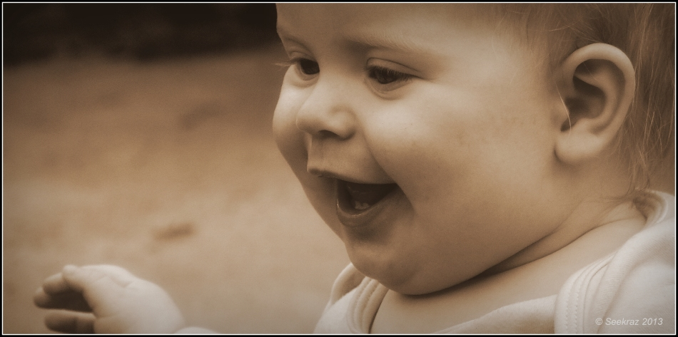 portrait of a baby in sepia