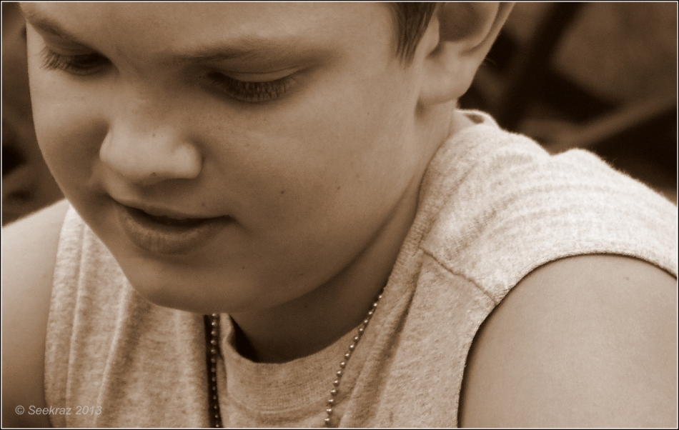 Boy in sepia