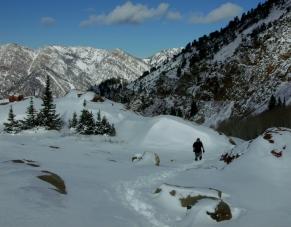 Climbing through the snow to Lake Blanche