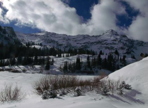 Dromedary Peak and Lake Blanche Shoreline under snow
