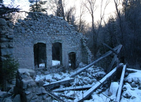 Inside ruins of Columbus Consolidated power station ruins, Little Cottonwood Canyon Utah