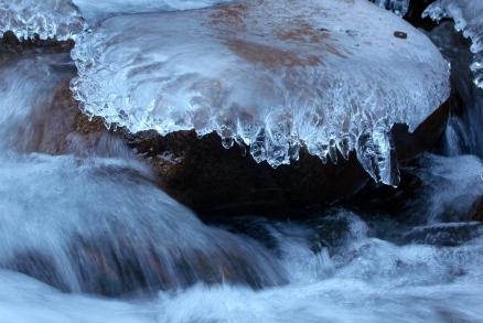 Ice decorations on stream rocks