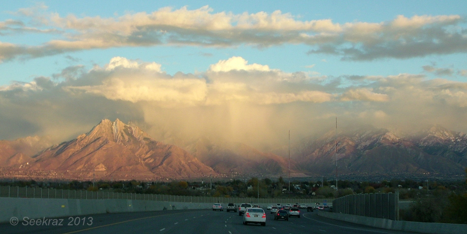 snow burst over Wasatch Mountains
