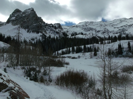 Sundial Peak and Lake Blanche shoreline under snow