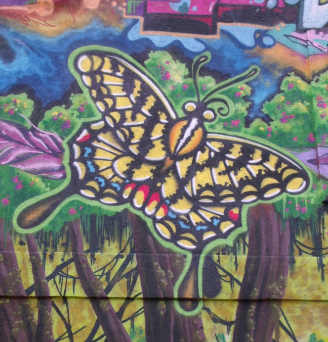 Korner Market mural butterfly