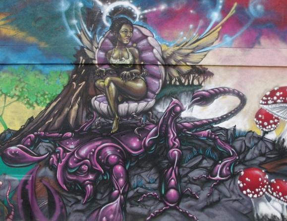 Korner Market mural goddess on scorpion