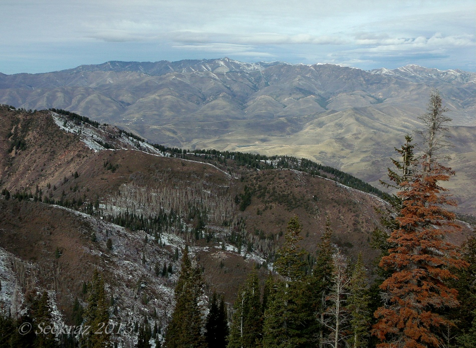 Ridge-line perspective of near-winter Wasatch Mountains