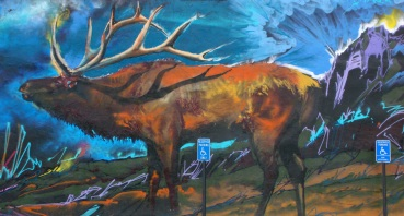 Gallenson's elk mural far right panel