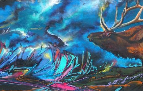 Gallenson's elk mural mid right panel