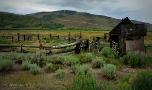 Horse barn and corral in Scofield, Utah.