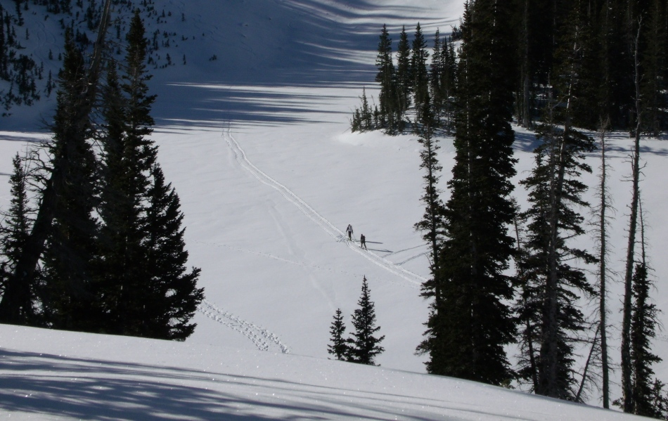 Skiers on track across Red Pine Lake