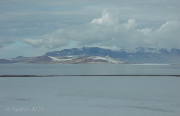 A tiny car captured on the Antelope Island causeway.