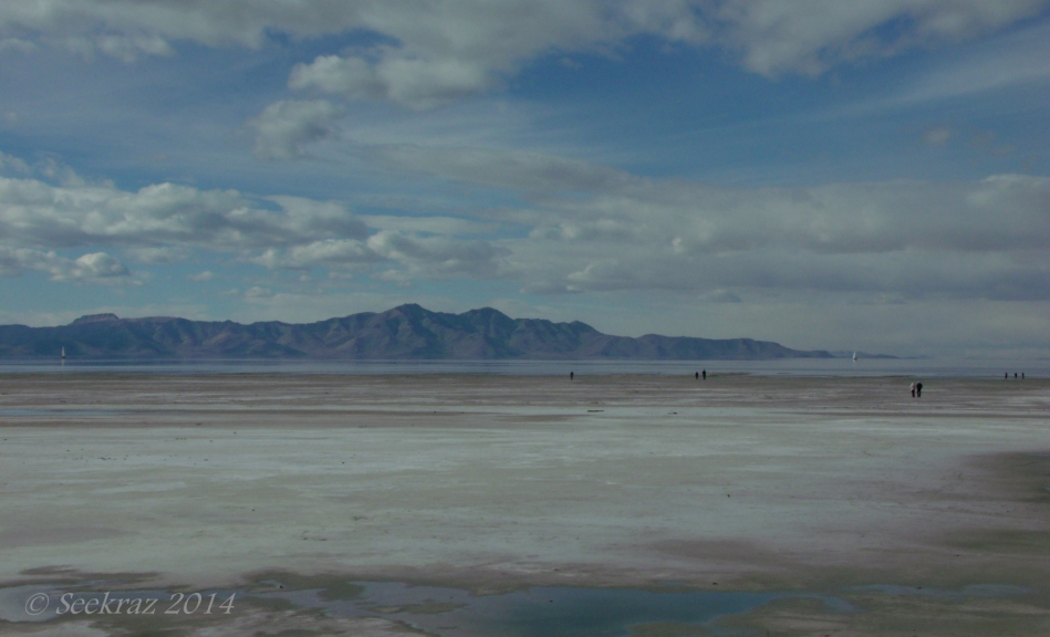 Figures on south shore of The Great Salt Lake