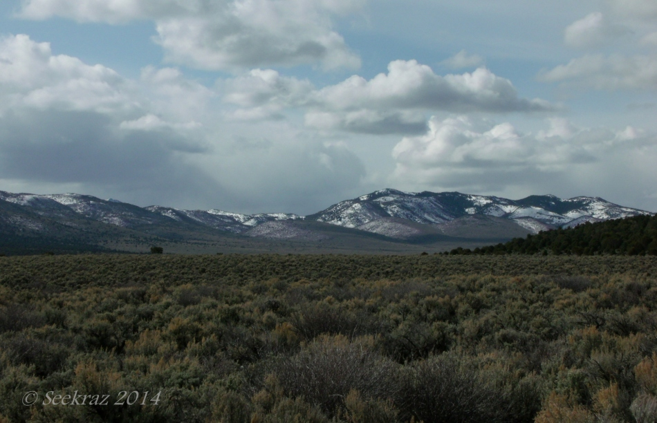 sagebrush cedar mountains and clouds in Utah