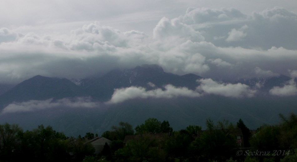 Low clouds over Wasatch Mountains 2