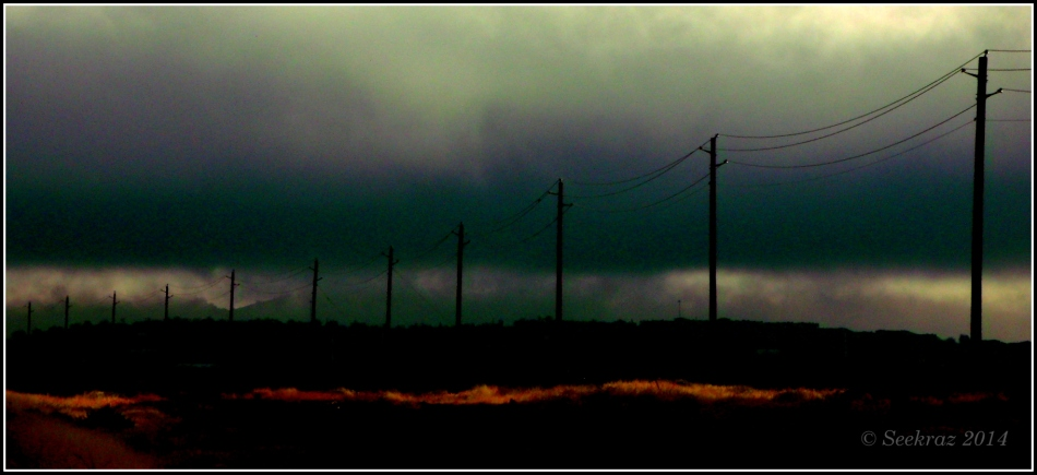 dark power lines receding