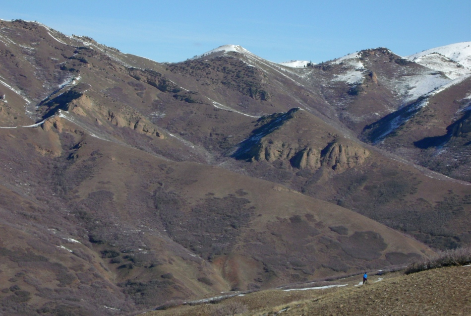 single hiker in blue in hills north of Salt Lake City