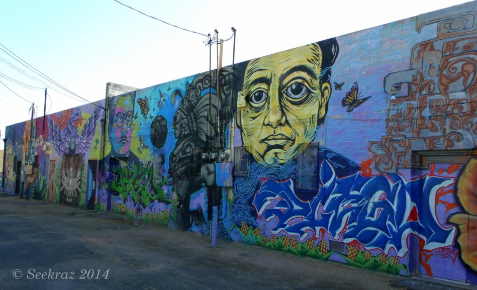 Calle 16 mural center to left