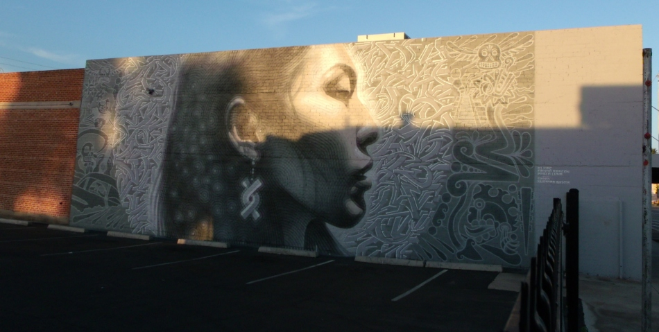 El Mac indigenous woman mural complete at sunrise