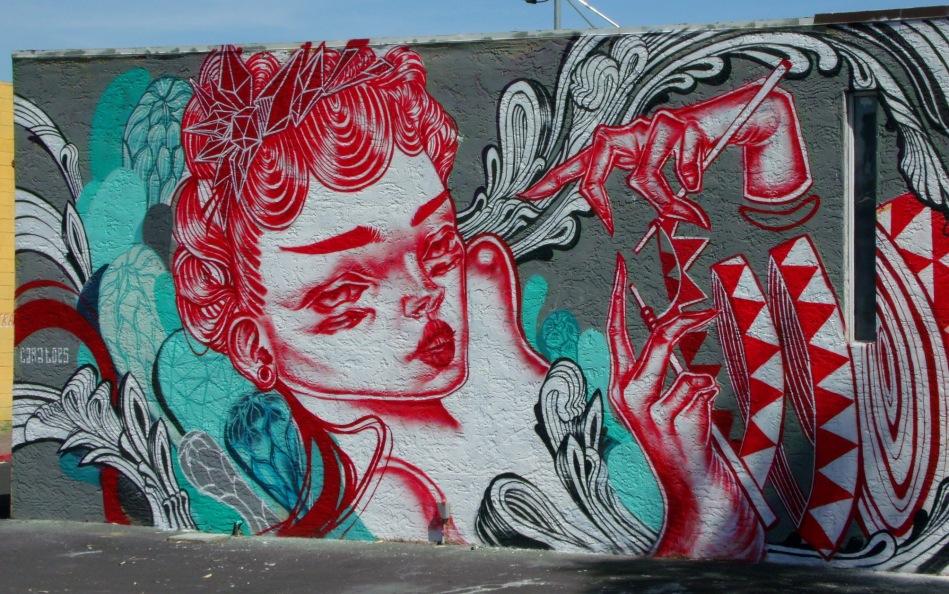 Knitting mermaid mural left half