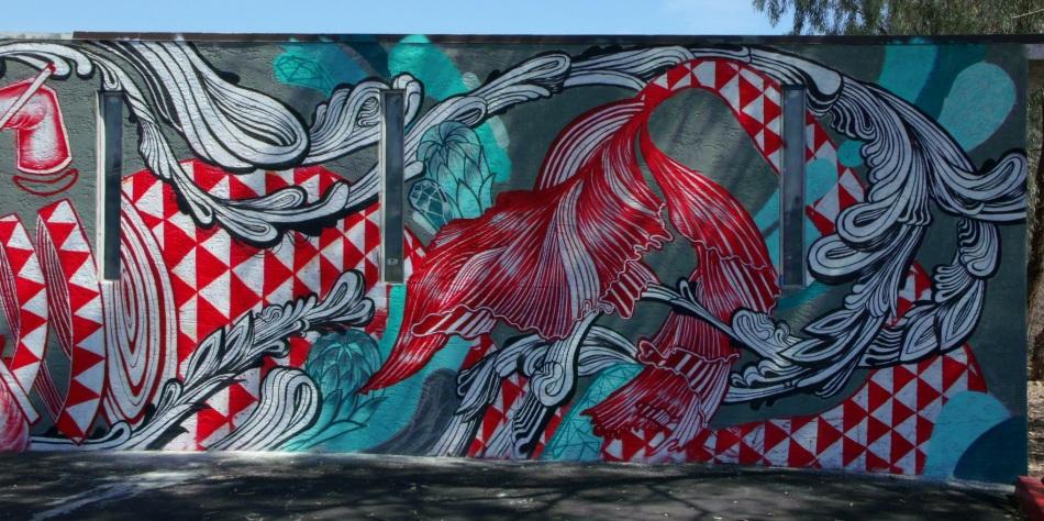 Knitting mermaid mural right half