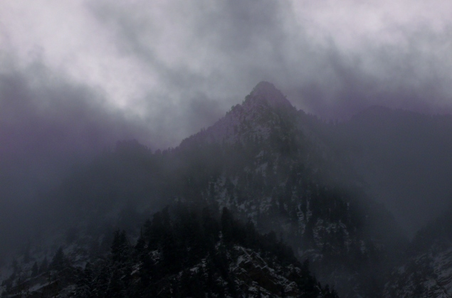 Clouds on the mountain-tops in Little Cottonwood Canyon