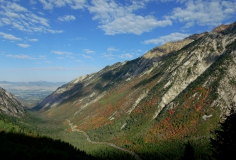 Looking west through Little Cottonwood Canyon from the trail to White Pine Lake, September 2012