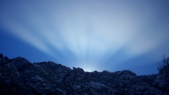 Magical morning light in Little Cottonwood Canyon, January 29, 2011