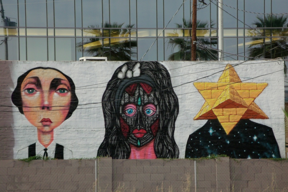 cabezas curiosas mural closer look