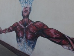 Roosevelt Community Church's muscle man mural